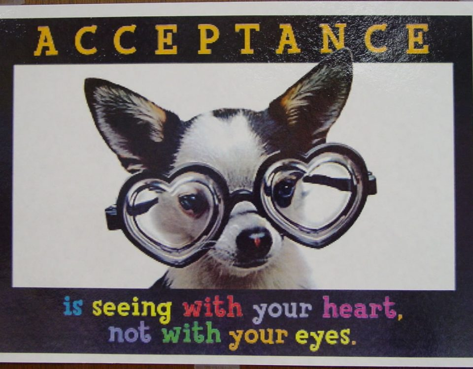 acceptance is seeing with your heart, not with your eyes
